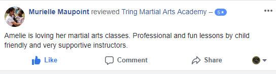 Murielle Maupoint, Tring Martial Arts Testimonials