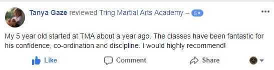Tanya Gaze, Tring Martial Arts Testimonials
