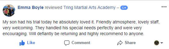 Emma Boyle, Tring Martial Arts Testimonials