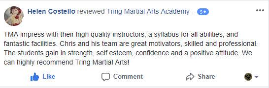 Helen Costello, Tring Martial Arts Testimonials