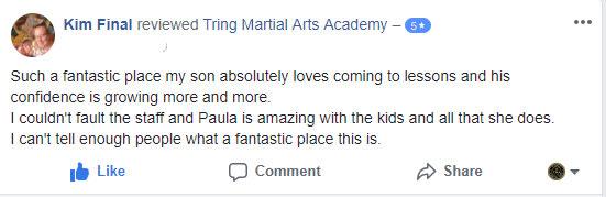 Kim Final, Tring Martial Arts Testimonials