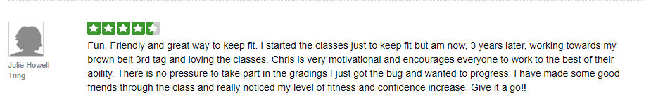 Julie Howell, Tring Martial Arts Testimonials