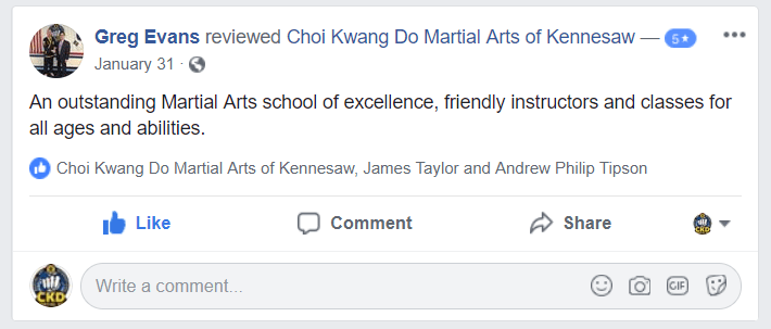Greg Evans FaceBook Review, CKD Martial Arts Of Kennesaw Testimonials