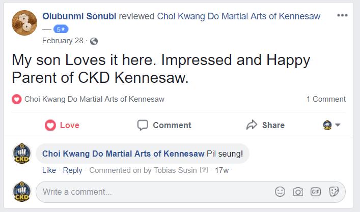 Olubunmi Sonubi Facebook Review, CKD Martial Arts Of Kennesaw Testimonials
