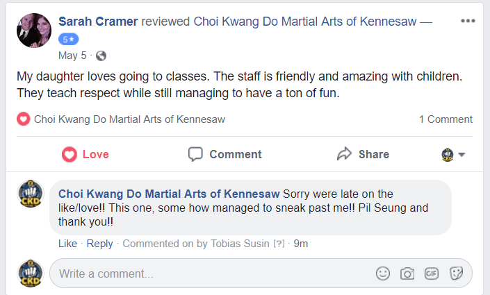 Sarah Cramer Facebook Review, CKD Martial Arts Of Kennesaw testimonials