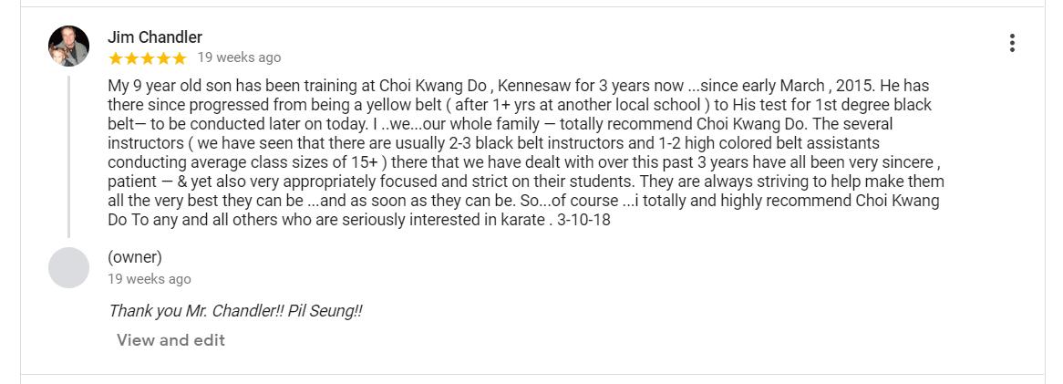 Jim Chandler Google Review, CKD Martial Arts Of Kennesaw Testimonials