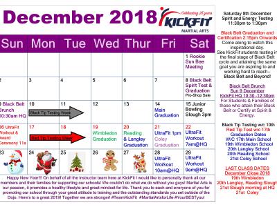 December 2018 Event Calendar - KickFit Martial Arts School Langley