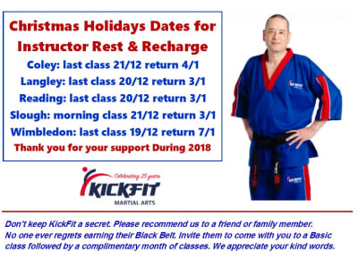 End of Year and Restart Dates - KickFit Martial Arts Slough