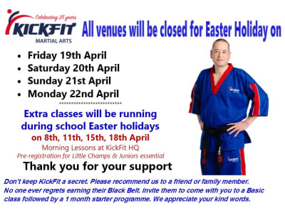 Easter Bank Holiday Closure - KickFit Martial Arts School Langley
