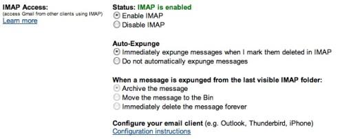 IMAP settings