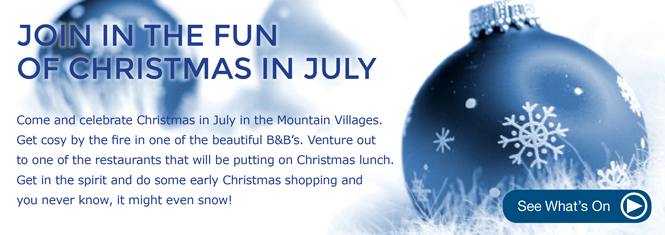 Come and celebrate Christmas in July in the Dandenongs. Get cosy by the fire in one of the beautiful B&B's. Venture out to one of the restaurants that will be putting on a Christams lunch. Get in the spirit and do some early Christmas shopping and you never know, it might even snow!