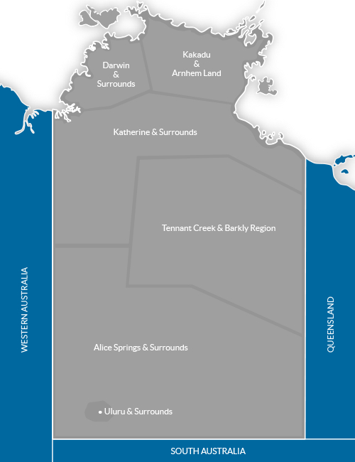 Map Of South Australia And Northern Territory.Northern Territory S Tourism Regions Lifestyle Businesses Australia