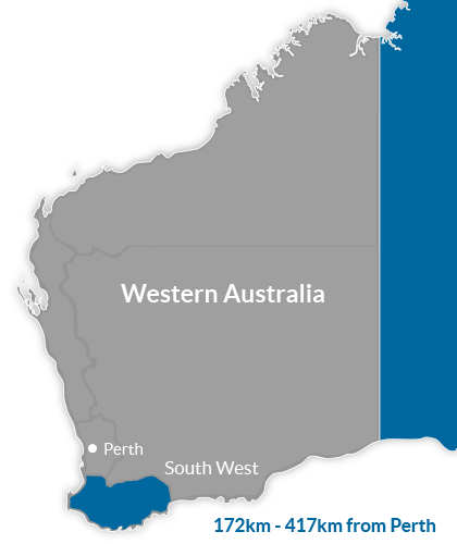 South West Region Map