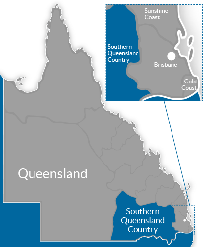 Southern QLD Country Region Map
