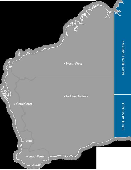 Map of Tourism Regions in Western Australia, Australia