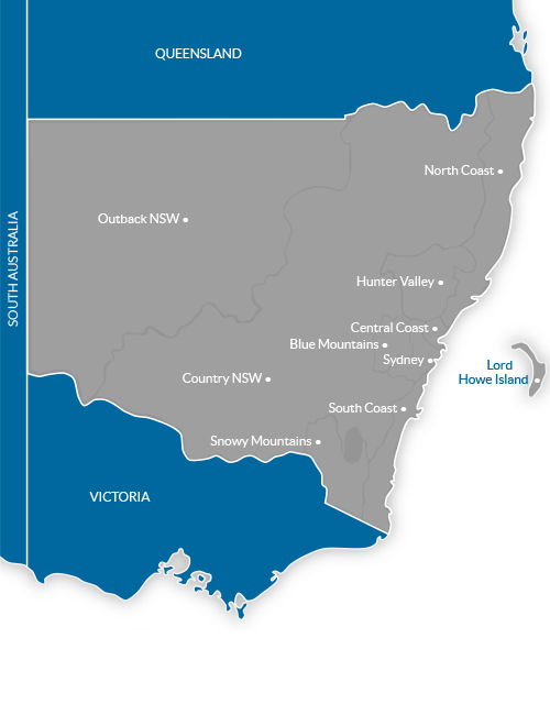 Map of Tourism Regions in New South Wales, Australia