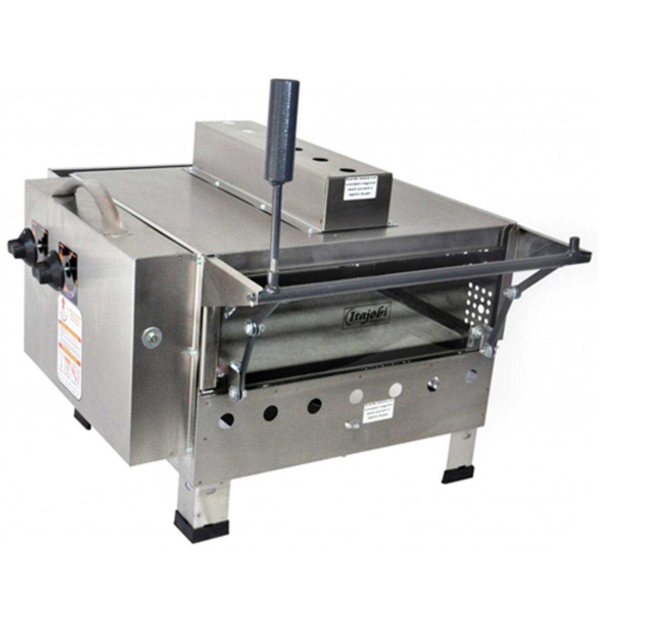 Forno para pizza grill fixo refratário luxo a gás GLP com infravermelho 425 X 425 Itajobi
