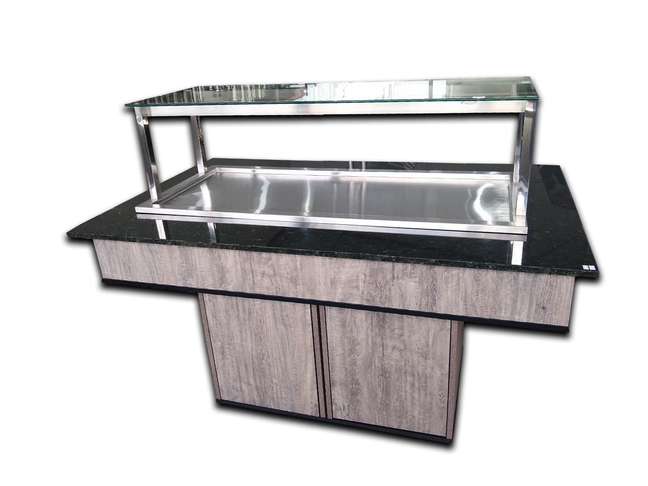 Buffet refrigerado 220V em MDF cor Rustica e granito verde labrador com vidro reto