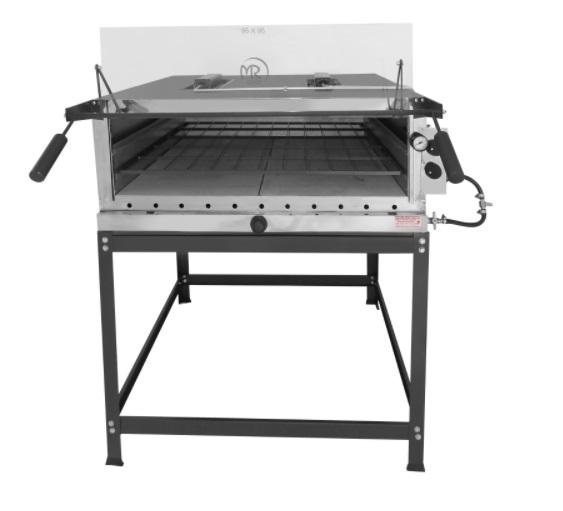 Forno pizza 80x60 Infravermelho refratário á gás capa preta MR Fogões