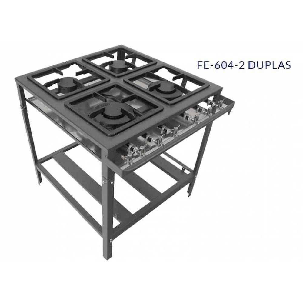 Fogão 04 bocas baixa pressão  30X30 perfil 5 FE-604-2D Metal Brey