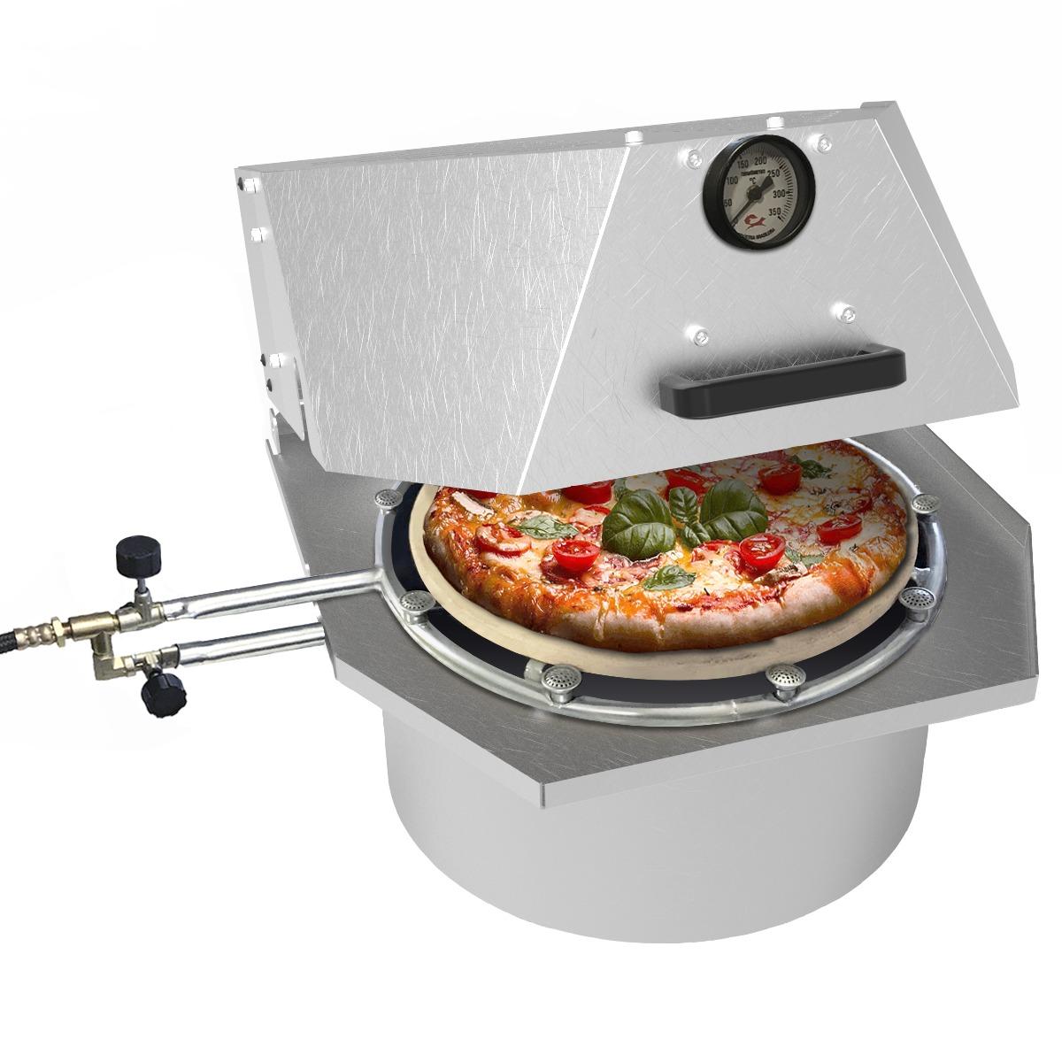 Forno de pizza compacto à gás FC35 queimador lateral e central cinza Saro