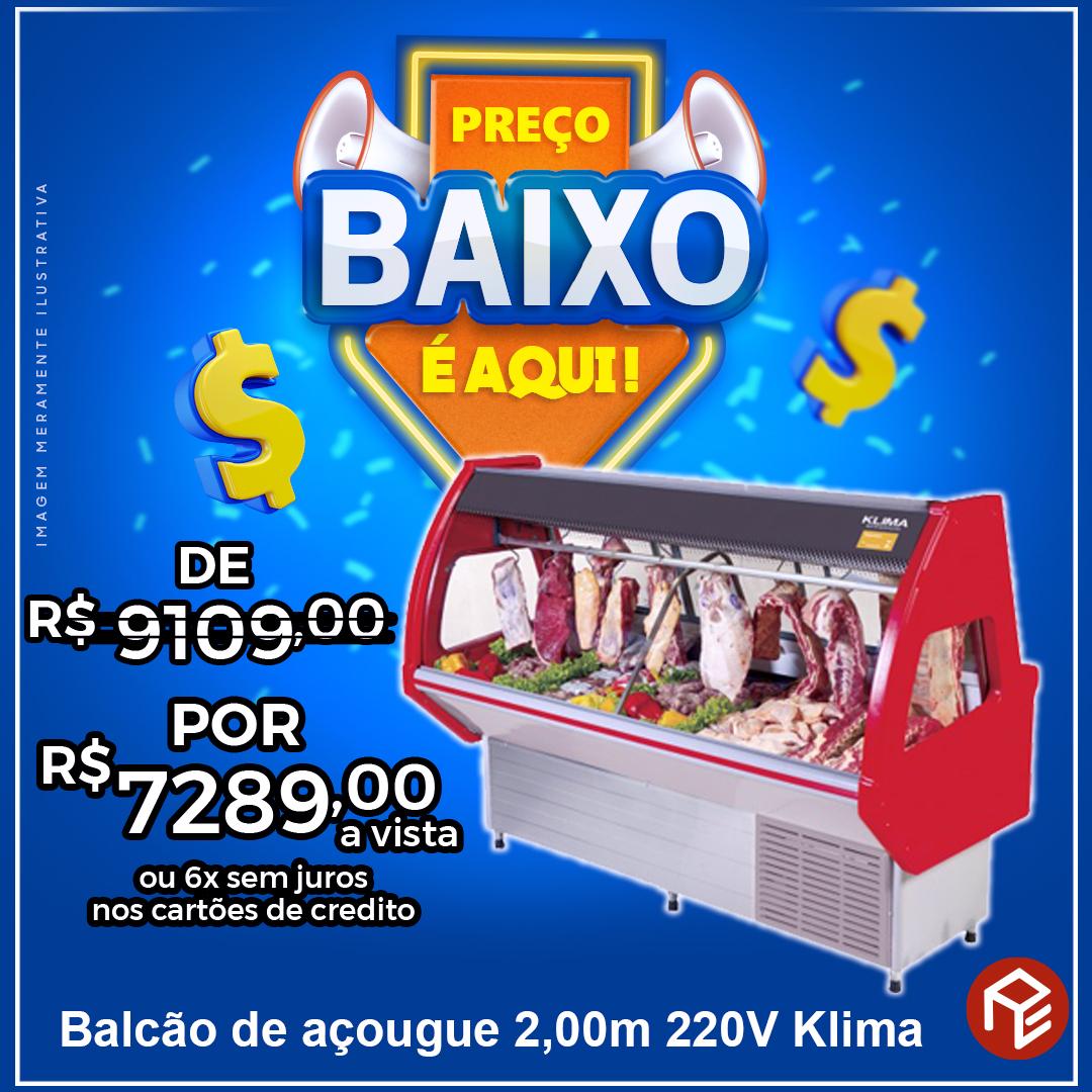 Balcão Açougue Duplex Italiano 2,00m 220V Klima