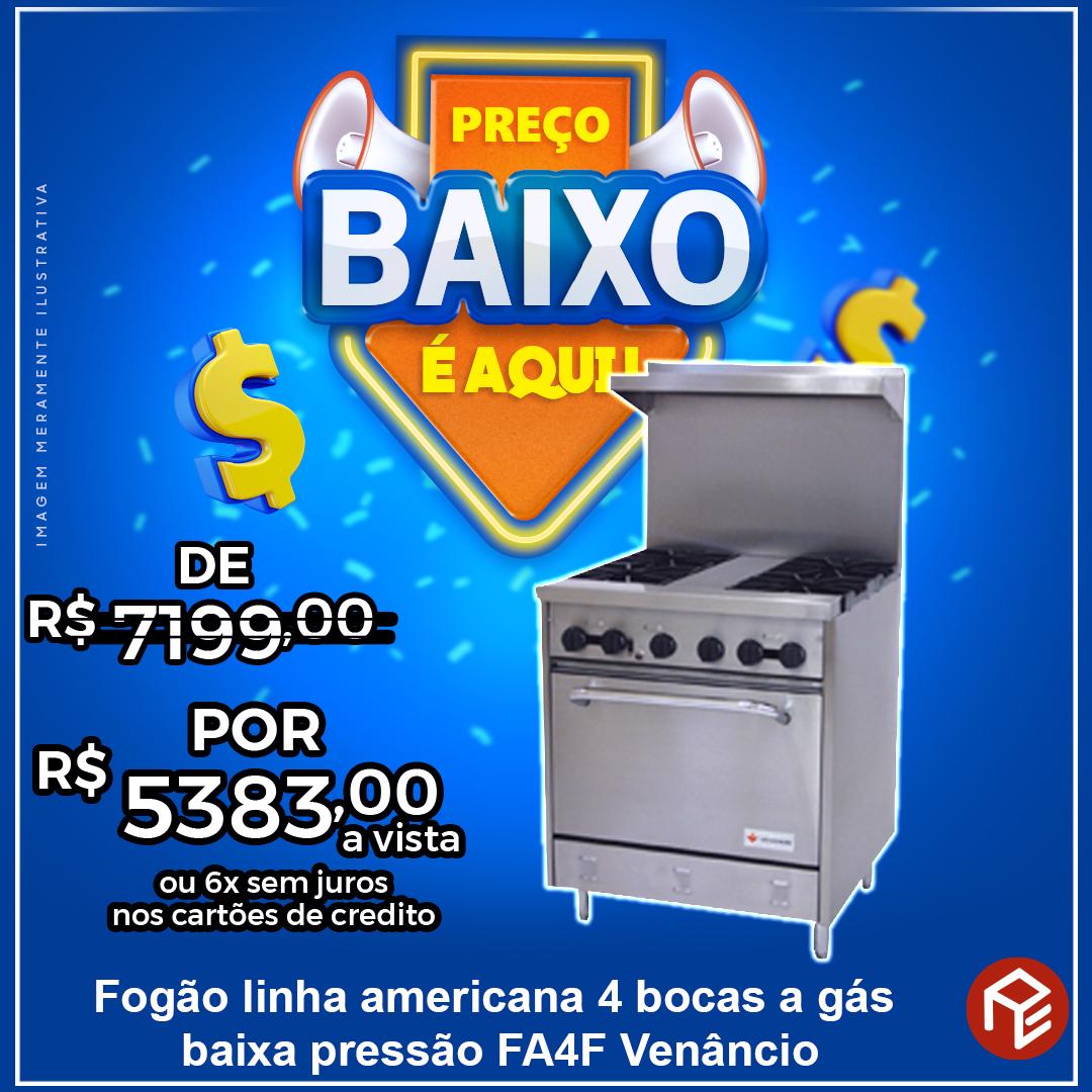 Fogão Americano 04 Bocas com Forno FA4F Venâncio