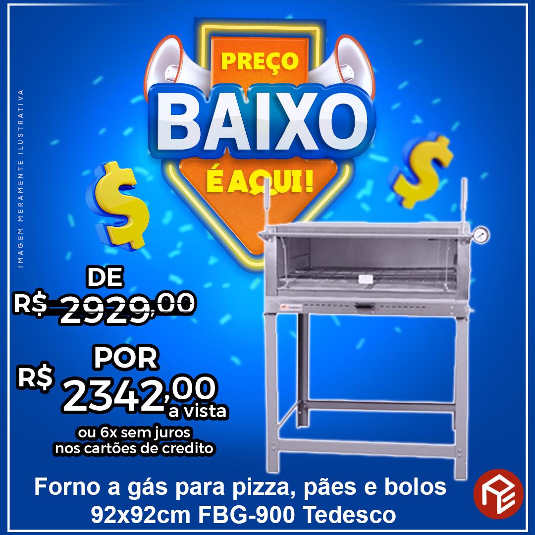 Forno de lastro industrial a gás para pães, bolos e pizzas FBG-900 Tedesco
