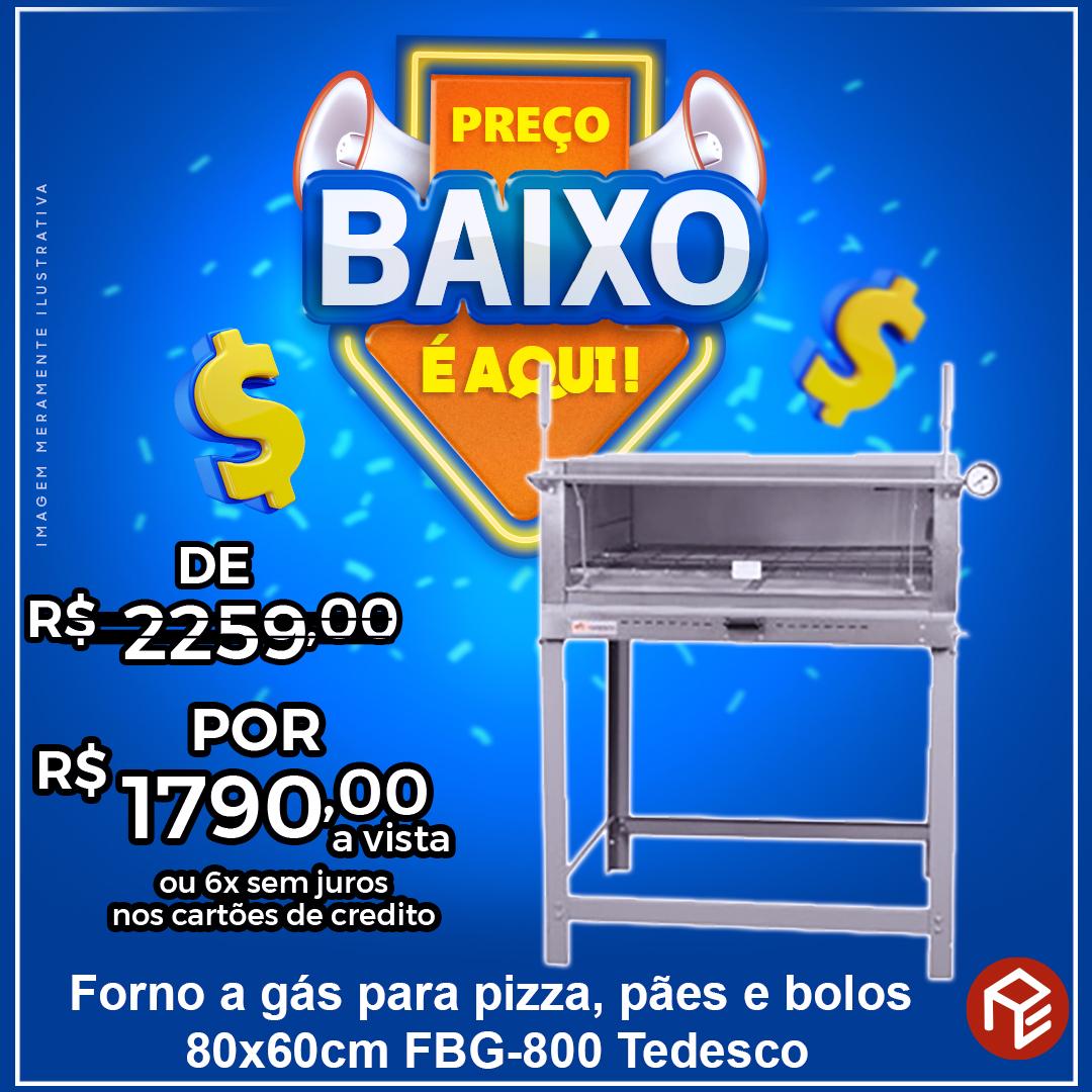 Forno de lastro industrial a gás para pães, bolos e pizzas FBG-800 Tedesco