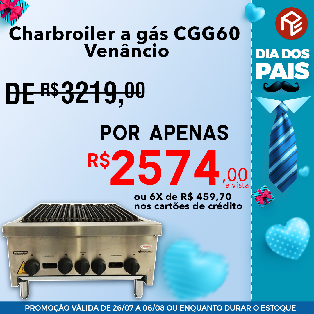 Charbroiler CGG60 a gás Venâncio