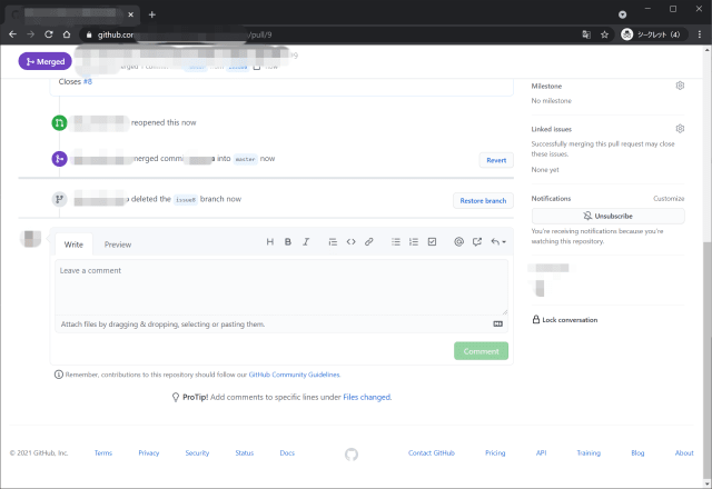 GitHub delete branch with pull request width=640
