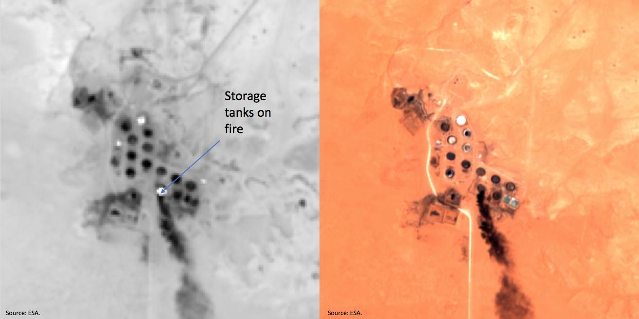 Storage tanks on fire at Ras Lanuf. Source: ESA