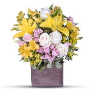 Yellow Lily & Rose Arrangement