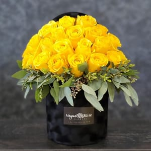 YELLOW ROSES IN ANY BLACK BOX