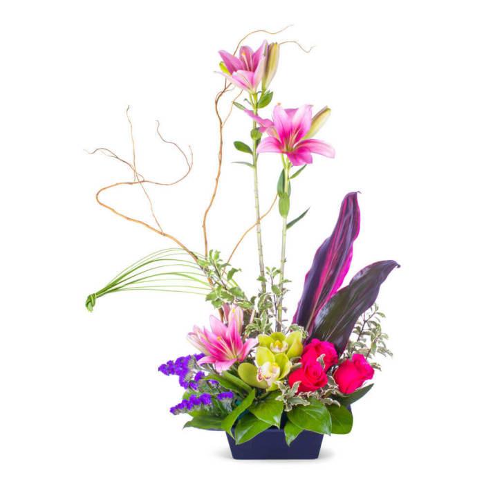 Pink Lily & Cymbidium Orchids Zen garden