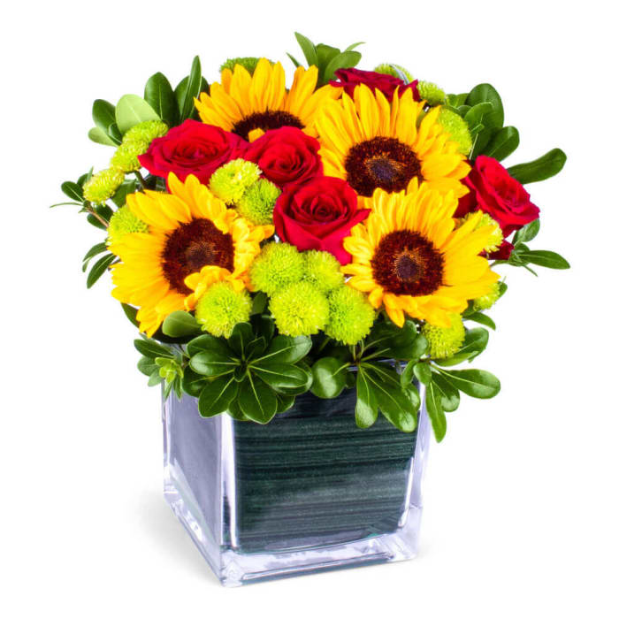 Sunny Sunflowers and Red roses