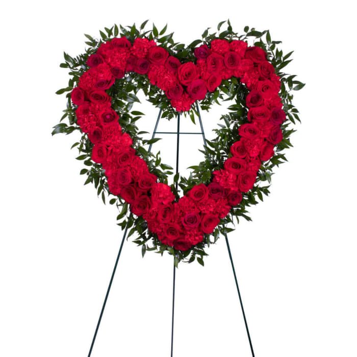 Blessings in Red Open Heart Funeral Wreath