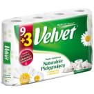VELVET Naturalnie Pielęgnujący Papier toaletowy rumiankowy 9 rolek + 3 GRATIS 1szt
