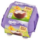 MILKA Egg 'n' Spoon Jajka czekoladowe z mleka alpejskiego z nadzieniem mlecznym WN 136g