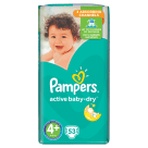 PAMPERS Active Baby Pieluchy Rozmiar 4+ Maxi+ (9-16kg) 53 szt 1 szt