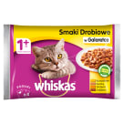WHISKAS 1+ Cat food - Poultry flavors in aspic (4 sachets) 400 g