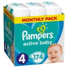 PAMPERS Active Baby Pieluchy Rozmiar 4  (9-14kg) 174 szt. Zapas na miesiąc 1szt