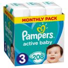 PAMPERS Active Baby Pieluchy Rozmiar 3 Midi (6-10kg) 208 szt. Zapas na miesiąc 1szt