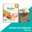PAMPERS Premium Care Pieluchy Rozmiar 2 Mini (3-6kg) 160szt Zapas na miesiąc 1szt