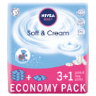 NIVEA Baby Chusteczki Soft&Cream 4x63 szt. 3 OPAKOWANIA + 1 GRATIS! 1szt
