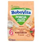 BOBOVITA Porcja Zbóż Kaszka mleczna kukurydziano-ryżowa 3 Owoce - po 6 miesiącu 210g