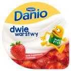 DANONE Danio Dwie warstwy Serek homogenizowany o smaku śmietankowym z truskawkami 120g