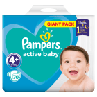 PAMPERS Active Baby Pieluchy Rozmiar 4+ Maxi+ (9-16kg) 70 szt 1 szt