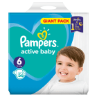 PAMPERS Active Baby Pieluchy Rozmiar 6 Extra Large (15+kg) 56 szt 1 szt