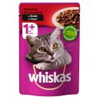 WHISKAS 1+ Pokarm dla Kotów z Wołowiną w Sosie - Saszetka 100g